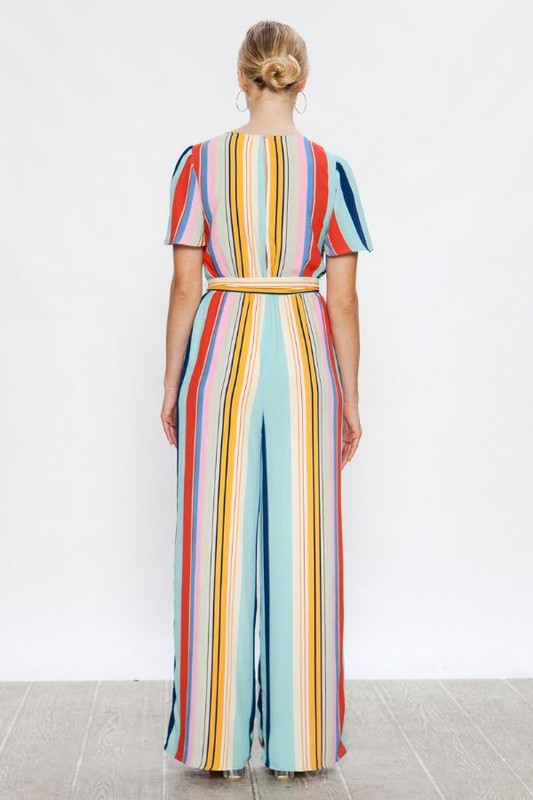 Multicolored Stripe Print Jumpsuit
