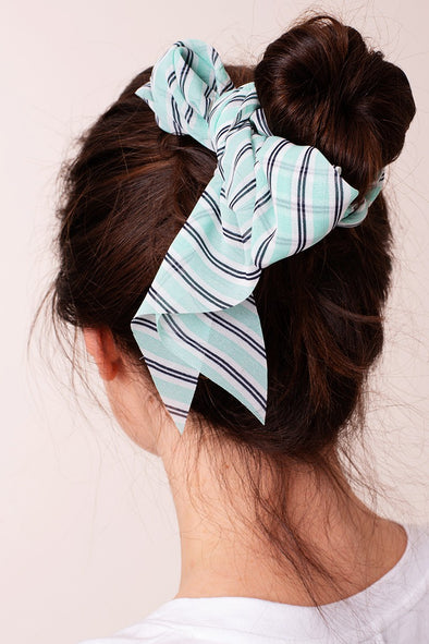 Stripe Print Ponytail Scrunchies