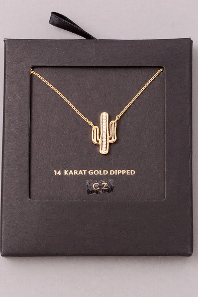 Jewel Cactus Pendant Necklace - Gold