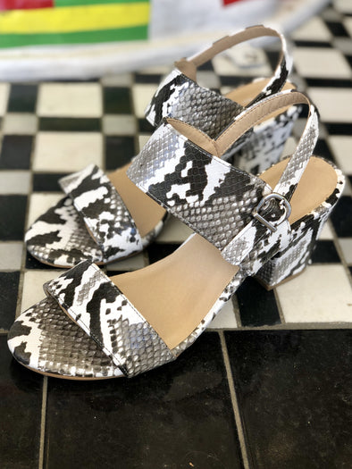 Spot On Snakeskin Block Heel