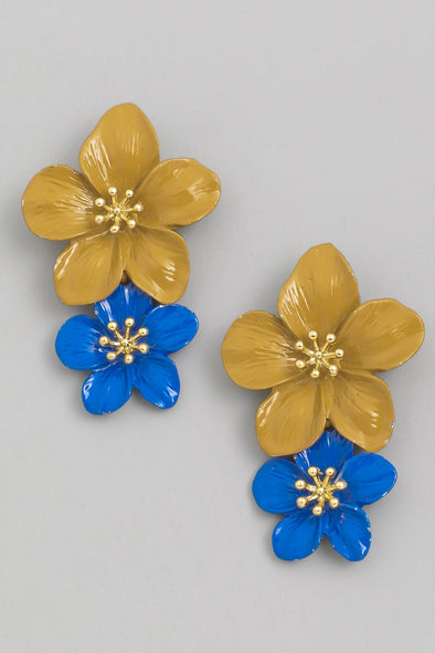 Double Flower Drop Earrings
