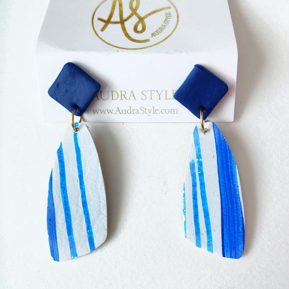 Blue White Stripe Drop Stud Earring