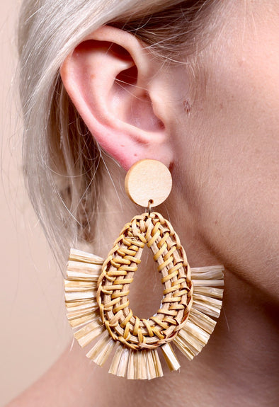 Wyly Woven Rafia and Tassel Teardrop Earring
