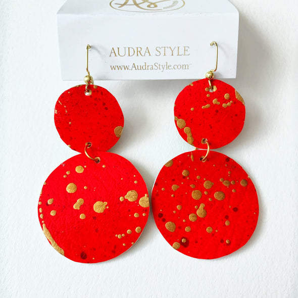 Red Large Circle Earring