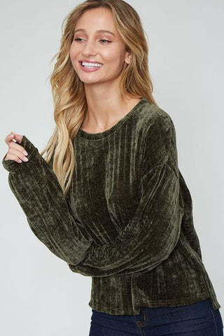 Same To You Velour Top - Olive