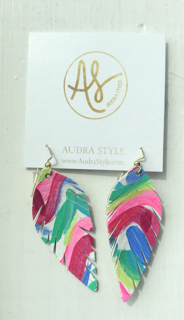 Medium Faux Leather Earrings - Variations