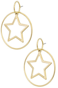 Shooting Stars Hoop Earrings - Gold