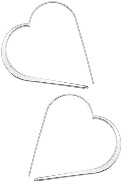 Where The Heart Is Earrings - Rhodium