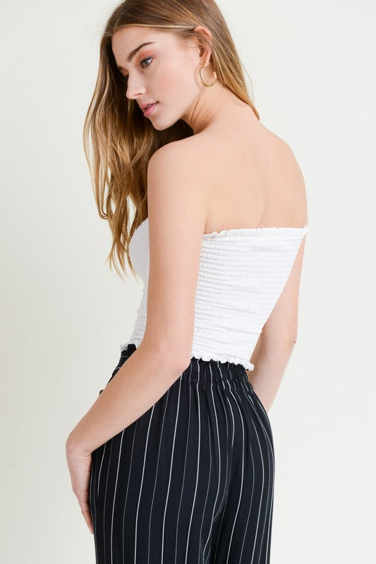Smocked Crop Tube Top