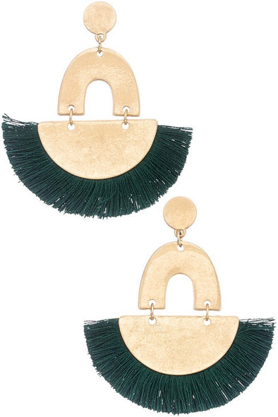 Feeling Bold Tassel Earrings - Green