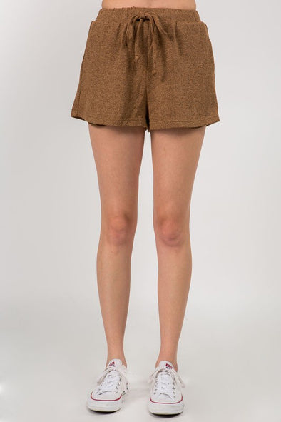 Cozy Delight Knit Shorts - Taupe