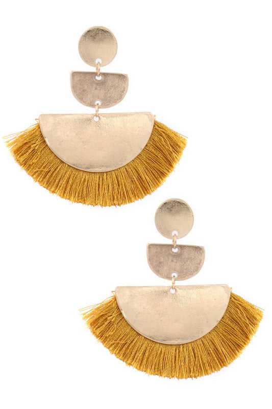 Semi Circle Cotton Tassel Drop Earrings - Mustard