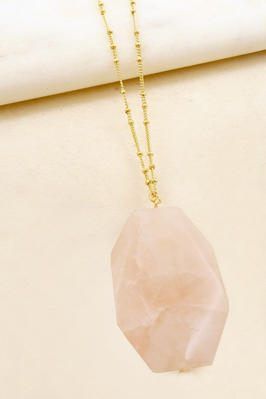Large Faceted Natural Stone Necklace