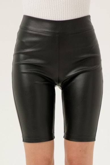 Rock On Faux Leather Bike Shorts