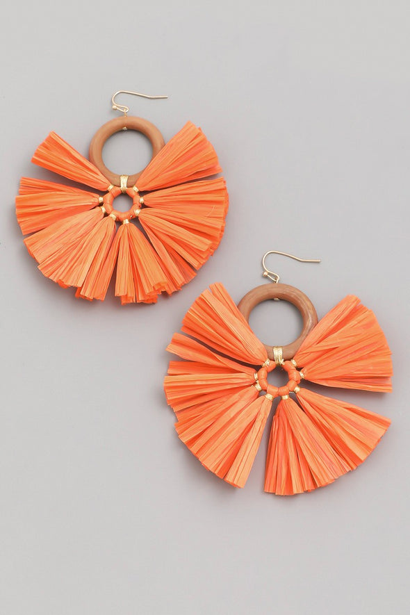 Raffia Circle Drop Earrings