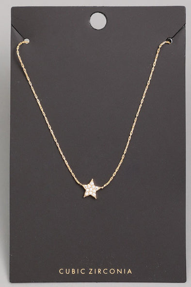 CZ Mini Star Stud Pendant Necklace