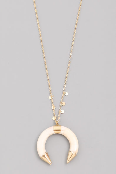 Ivory Horn Pendant Necklace
