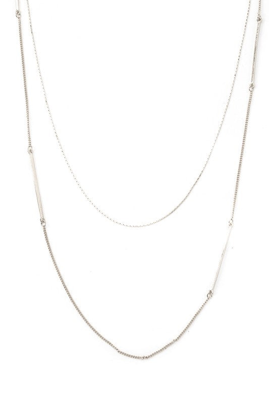 Dainty Layered Chain Necklace in Silver