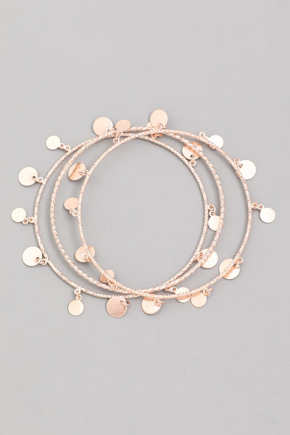 Wire Disc Bangle Bracelet Set