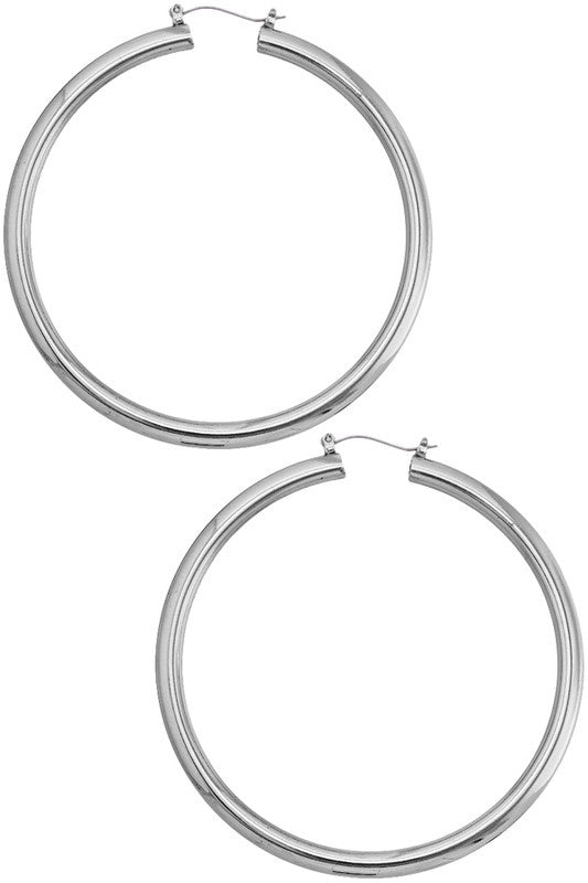 Tube Hoops in Silver
