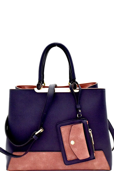Color Block Mixed-Material Satchel
