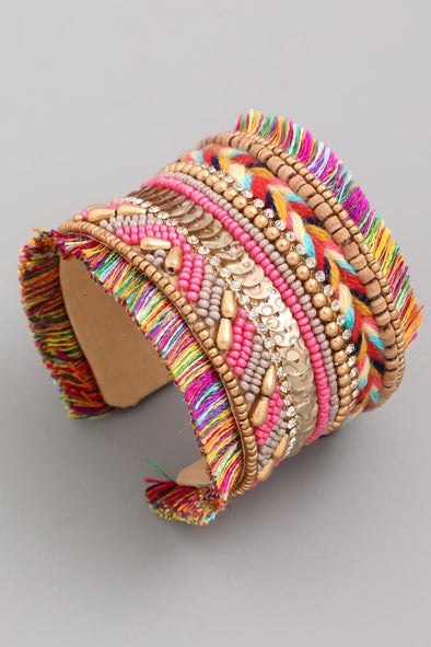 Beaded Fringe Wide Cuff Bracelet