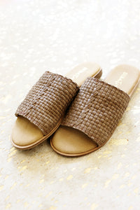 Jump Up Brown Leather Slide Ons