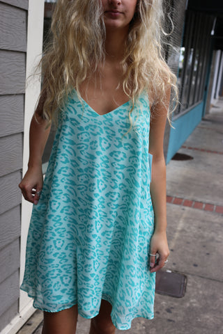 Seafoam Leopard Dress