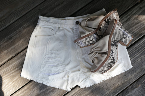Jayla Denim Shorts - White