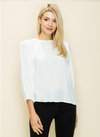 Woven Contrast Stitch Top