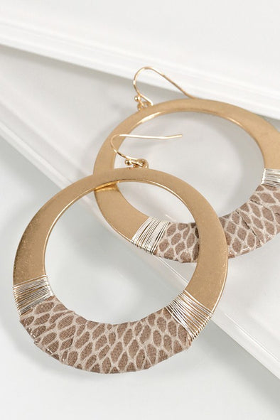 Leather and Wire Wrapped Circle Hook Earrings - Ivory