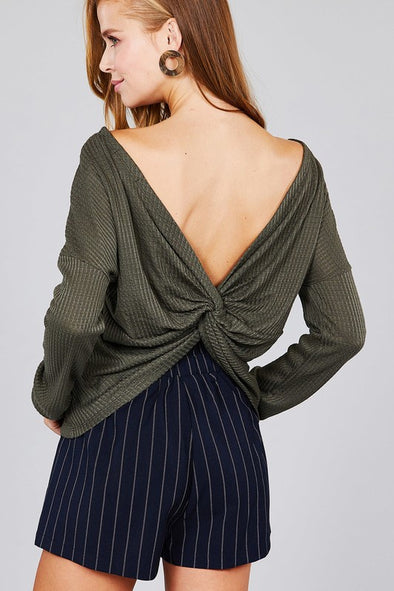 Waffle Knit Top Long Sleeve Back Knot Sweater - Olive