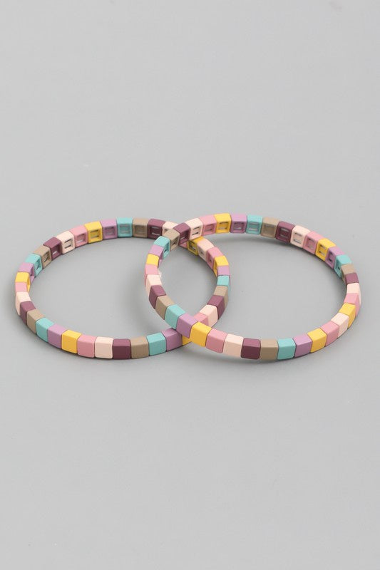 Square Block Bracelet Set - Multiple Colors