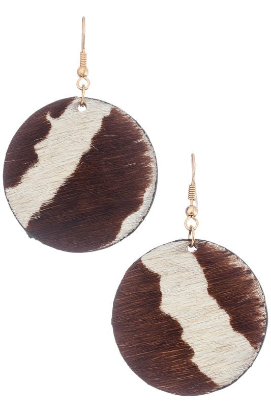 Furry  Leather Geo Drop Earrings