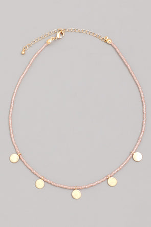 Dainty Beaded Coin Drop Choker