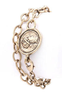 Double Wrap Coin Bracelet