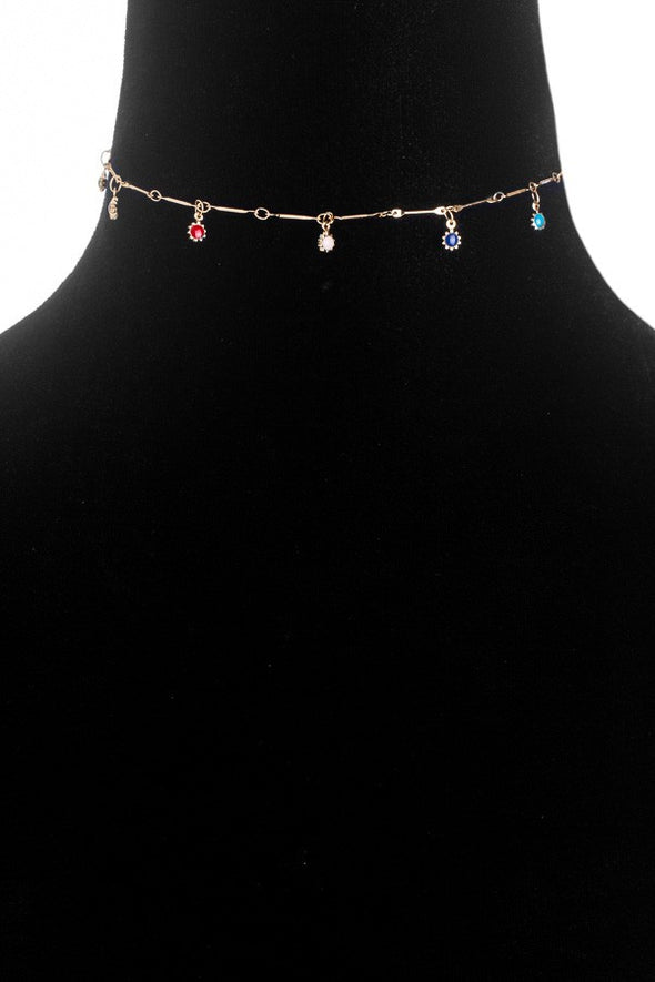 Rainbow Beaded Charm Choker