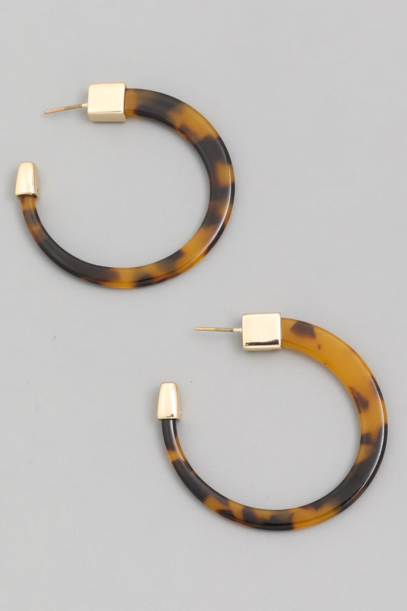 Brown Leopard Acetate Hoop Earrings