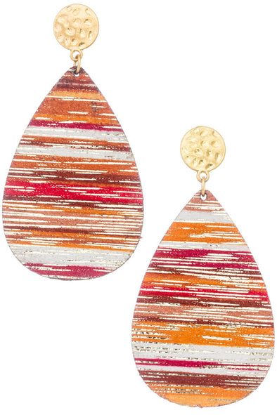 Orange Multi Faux Leather Teardrop Earrings