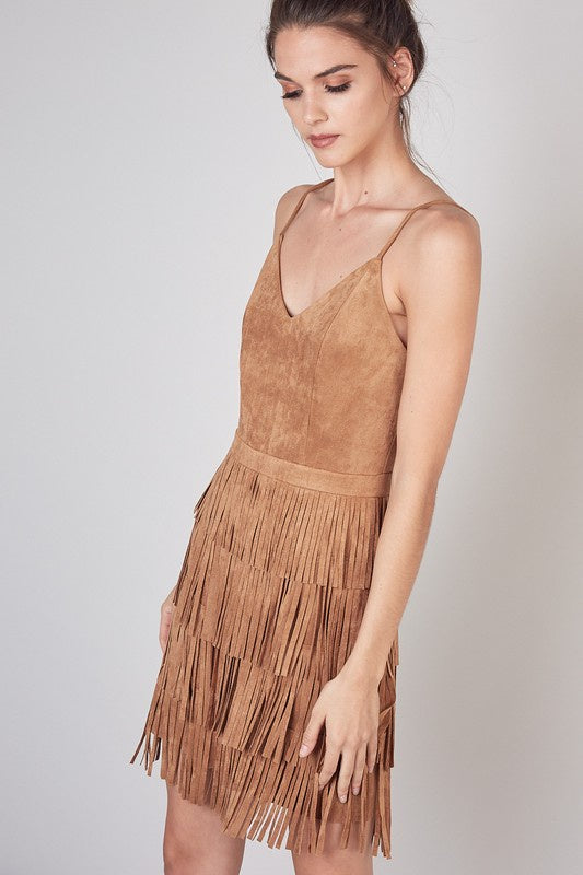 Sway With You Fringe Suede Dress
