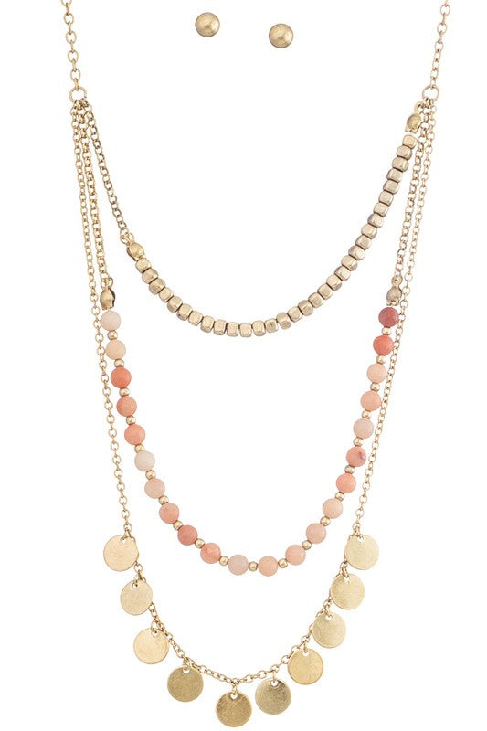 Sweet Layers Necklace in Peach