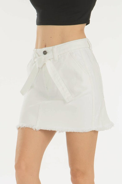 What They Say White Denim Skirt