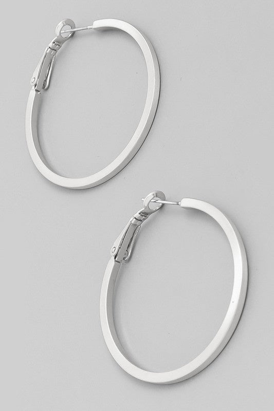 Metallic Hoop Latch Earrings