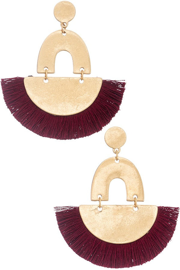 Feeling Bold Tassel Earrings - Burgundy