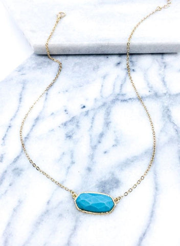 Semi Precious Stone Necklace in Turquoise