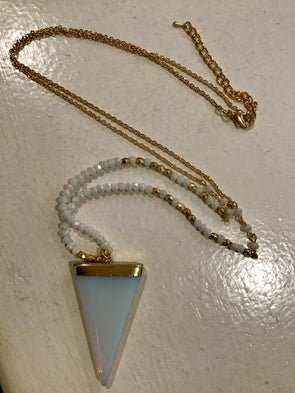 Captiva Opal Triangle Stone Pendant Necklace