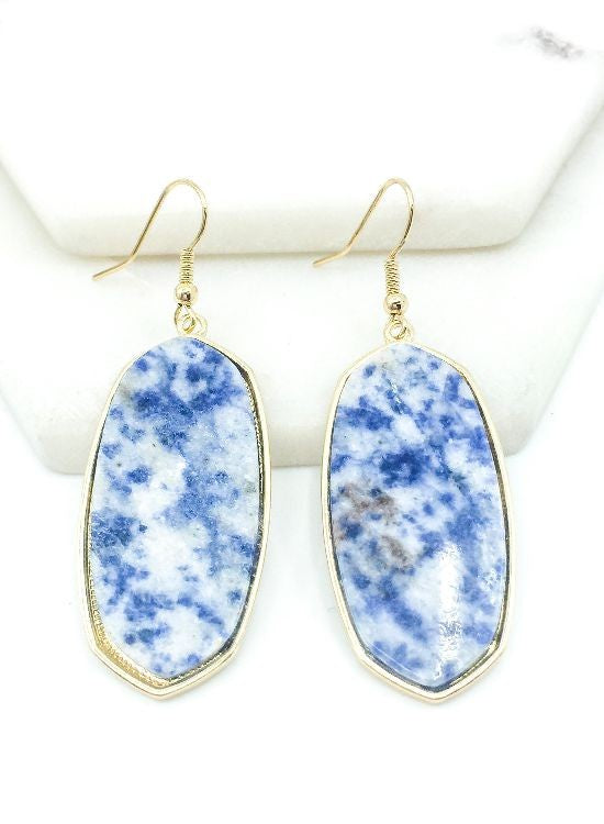 Hexagon Resin Earrings in Blue