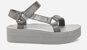 Teva Flatform Universal Leather Sandals - Metallic Pewter