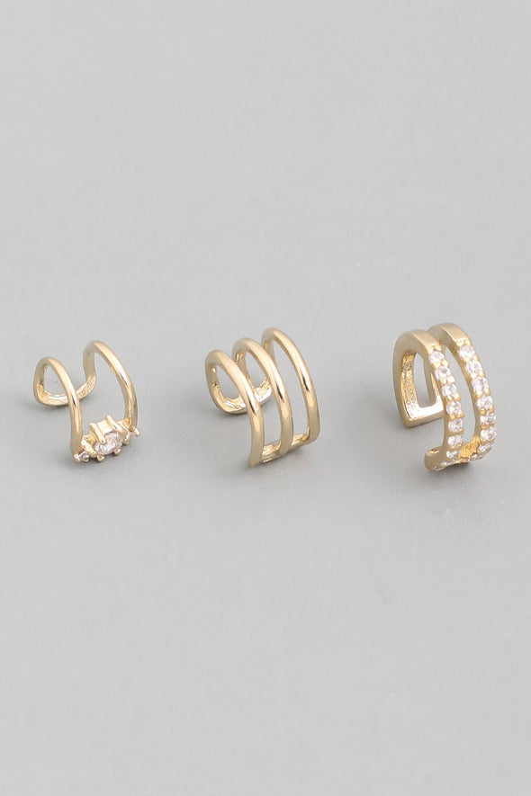 Kaitlin Mini Triple Band Ear Cuffs Set