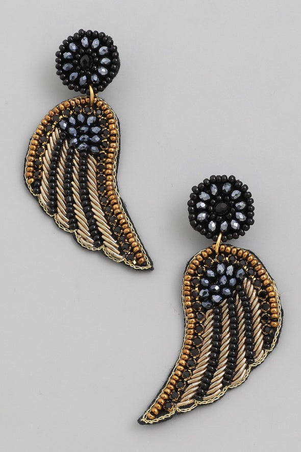 Beaded Wing Drop Earrings